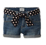 Armani Junior-Denim Short with Polka Dot Belt